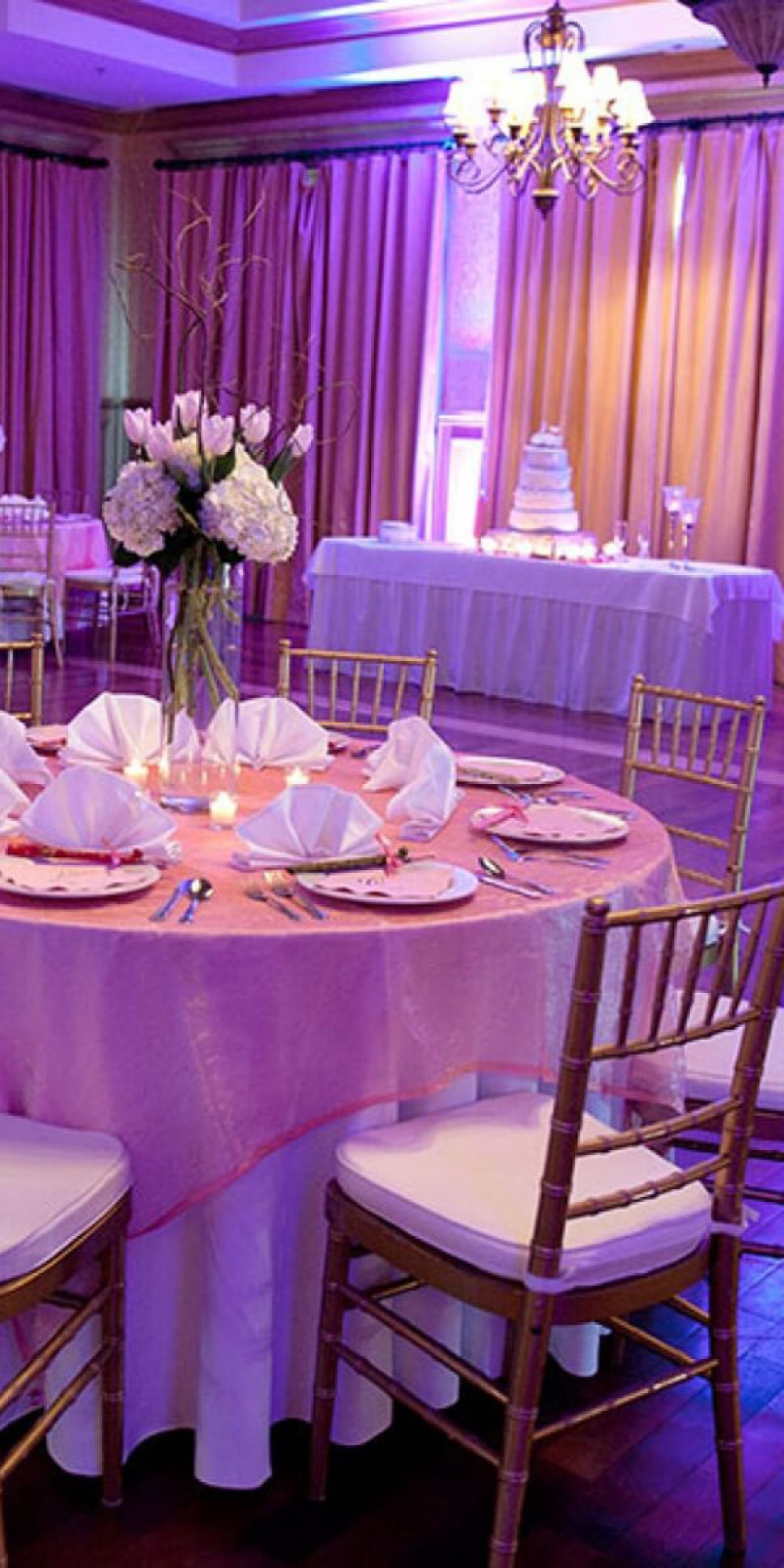 Event Type placeholder - image of a ballroom decorated with a wedding cake, round tables with white linens, chairs & pink uplighting.